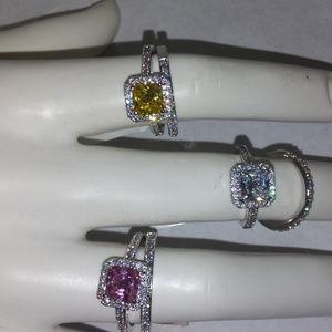 NWT ring wedding set white cz eternity band